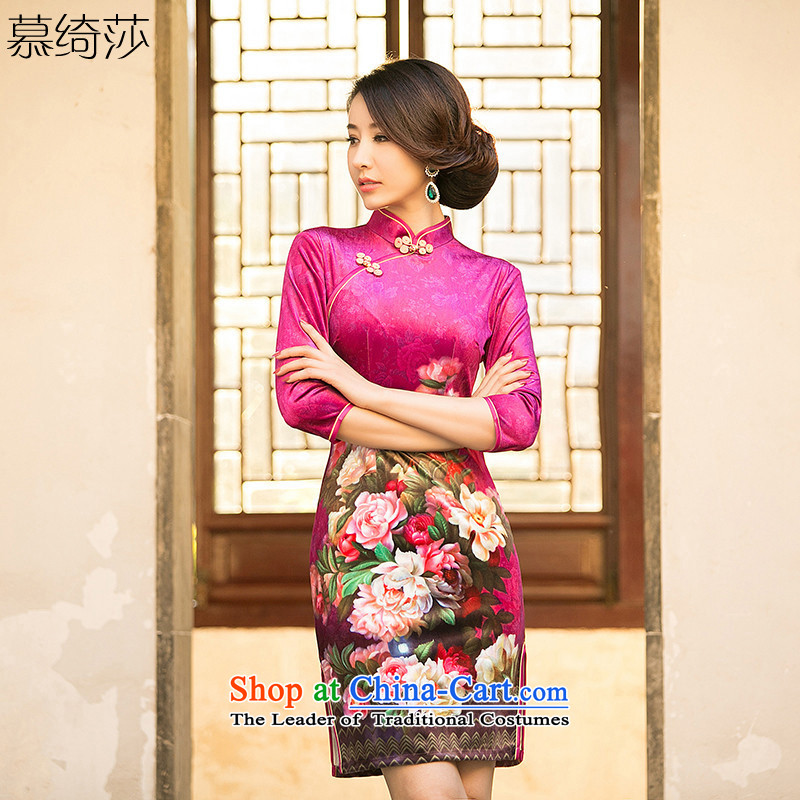 The cheer her eternal爏pring and summer 2015 new improved cheongsam dress velvet collar short-sleeved stamp cheongsam dress燴A 082爎ed燣