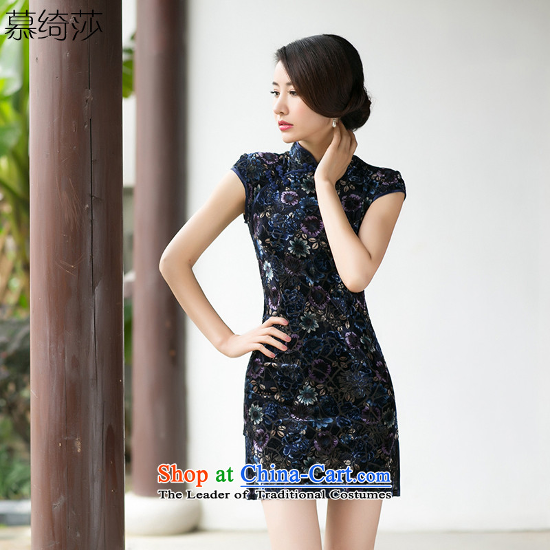 The cross-sa discretion ink?2015 Spring Summer collar short-sleeved retro improved daily scouring pads qipao gown cheongsam dress Ms.?za 084?Suit?M