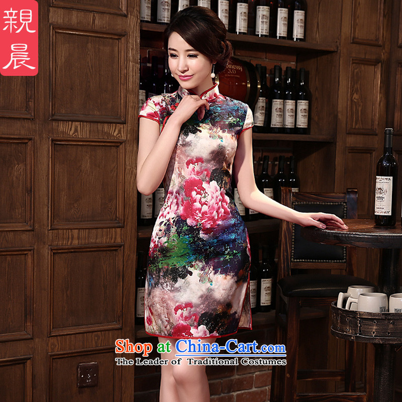 At 2015 new pro-silk cheongsam dress autumn retro herbs extract summer daily cheongsam dress improved stylish Red 2XL