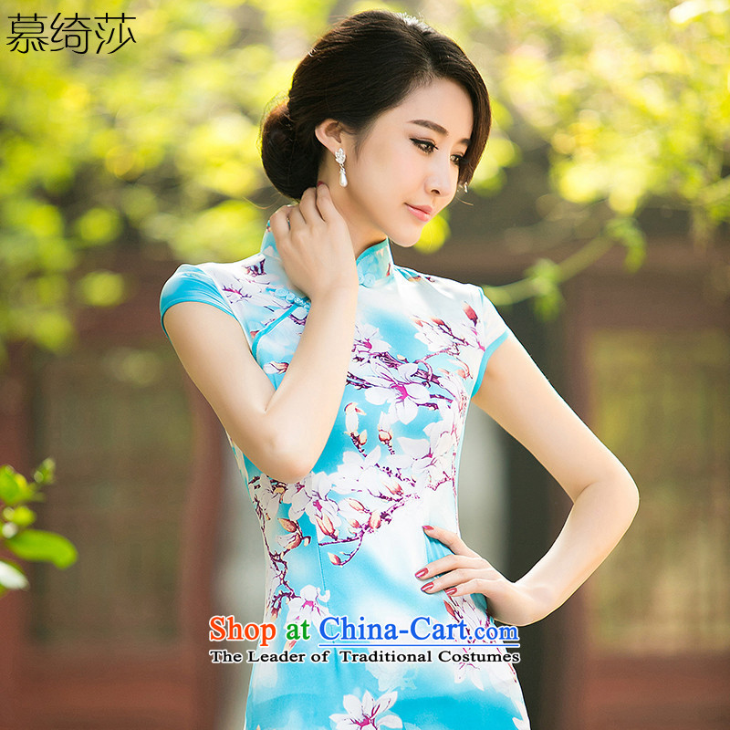 The cross-sha zi Pei new summer daily improved cheongsam dress short-sleeved Silk Cheongsam-ling of stamp dresses qipao燴A 047爏kyblue Ms.燤