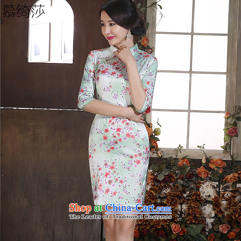 The cross-SA-light�2015 Sau San qipao summer Stylish retro cheongsam dress new stamp improved cheongsam dress�ZA 048�light green (7) L-to-sleeved c.o.d.
