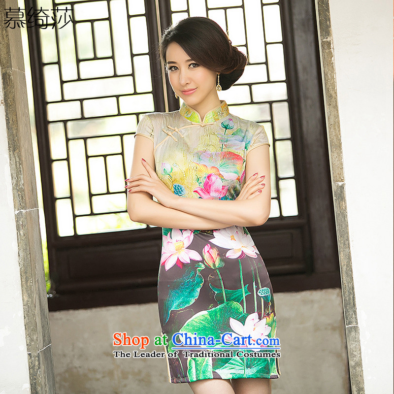 The cross-SA-ching eyes the new summer silk opened daily qipao improved's retro cheongsam dress Ms. stamp cheongsam dress?ZA 049?Suit?M