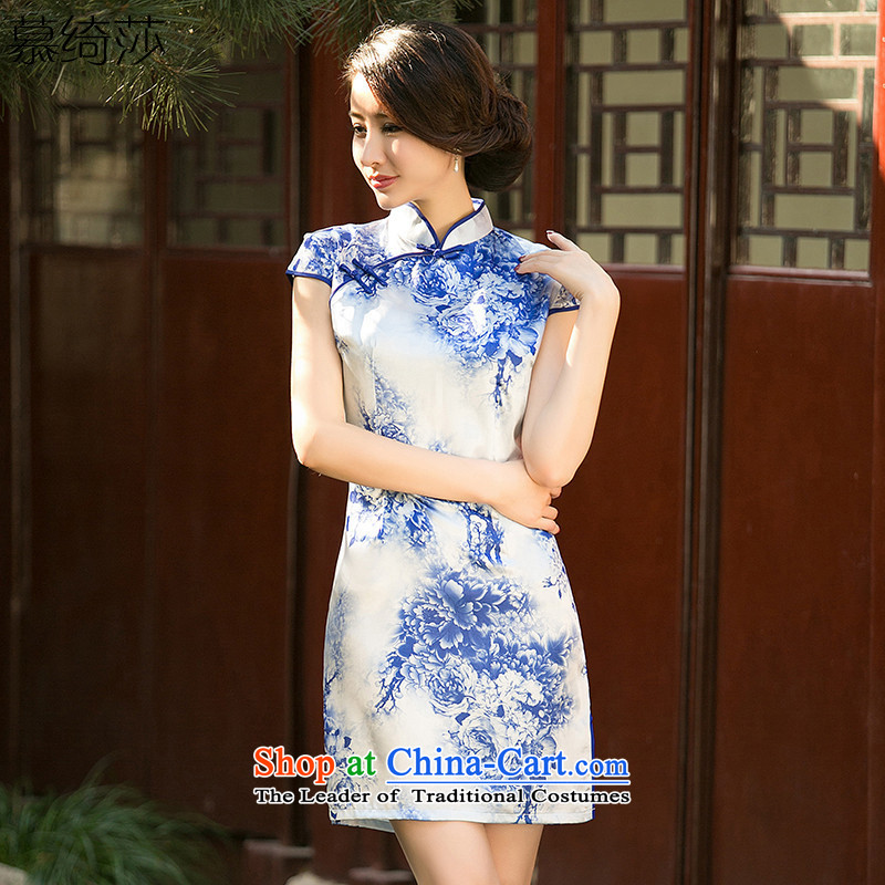 The cross-SA-drunk the new summer porcelain stamp cheongsam dress Short-Sleeve Mock-Neck daily improved qipao Ms. dresses?ZA 050?suit?2XL