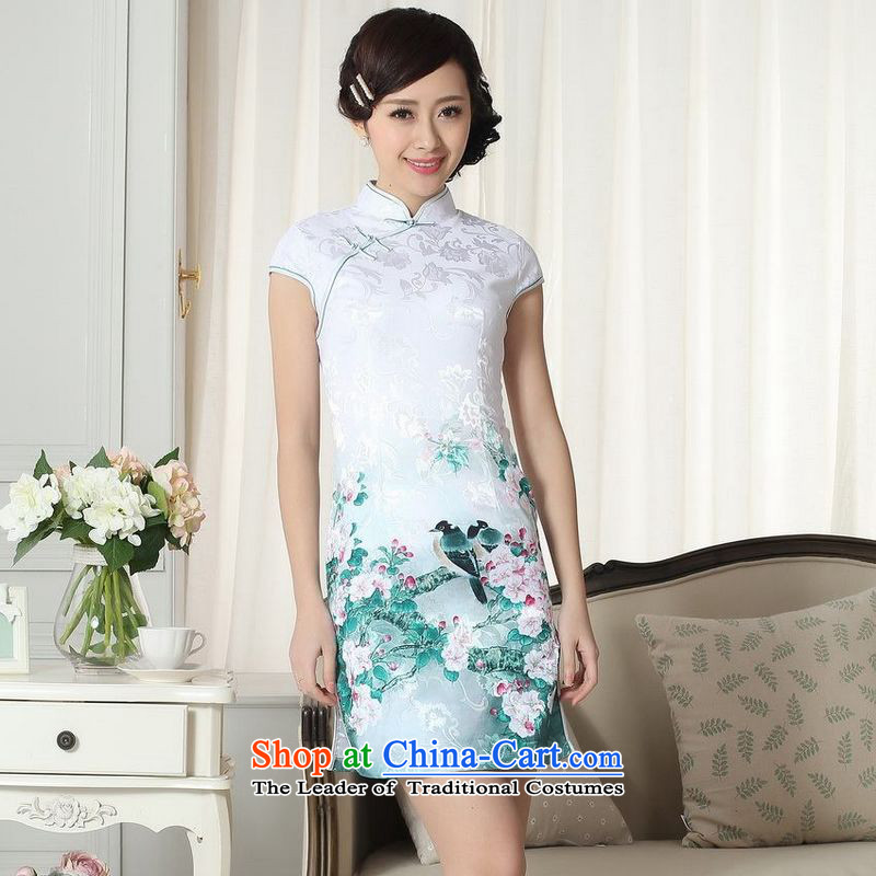 Ladies floor building is modern cotton jacquard cheongsam dress short Sau San Chinese cheongsam dress suit the new picture color?XL