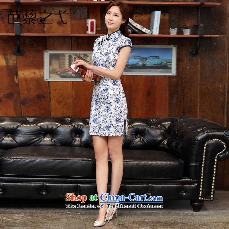 Porcelain cheongsam dress 2015 Spring New improved daily short of stylish cheongsam dress package and summer girls Sau San?988?Blue on white?M