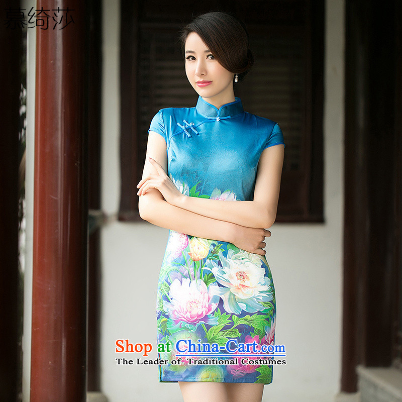 The cheer her book Selina Chow new summer short-sleeved stamp cheongsam dress silk cheongsam dress daily improved?ZA 052?suit?XL