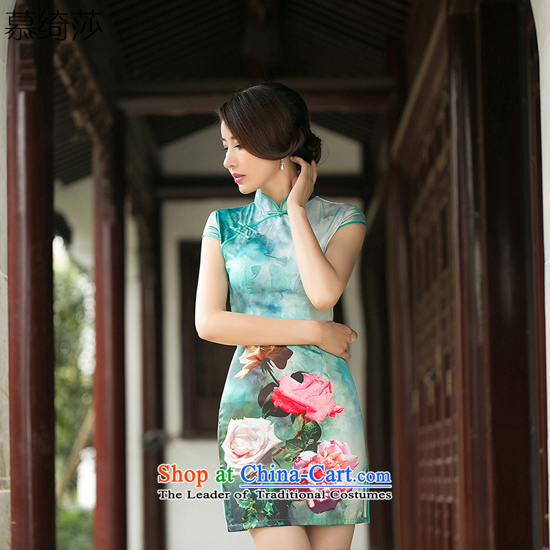 I should be grateful if you would have the cheer her cloud the new summer improved daily cheongsam dress Silk Cheongsam Ms. stamp short-sleeved cheongsam dress燴A 054爏uit燬