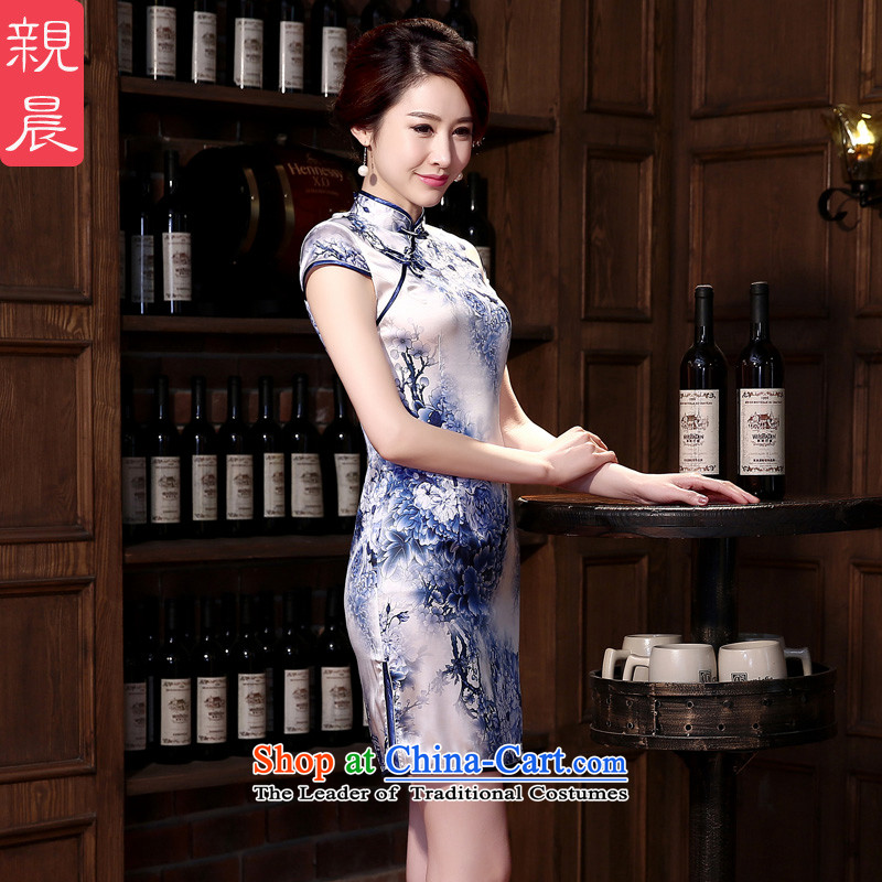 The pro-am new daily qipao 2015 skirt autumn summer retro herbs extract silk cheongsam dress improved blue peony燣
