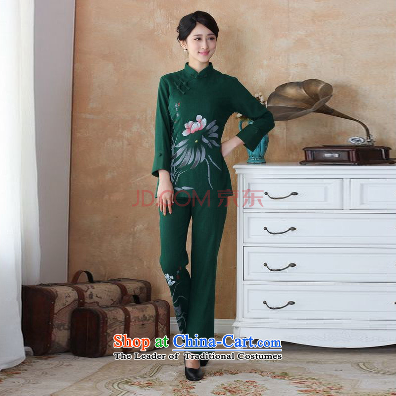 The optimized options in Shanghai, Ms. older Tang dynasty cotton linen load spring and autumn kit collar hand-painted Tang blouses pants Kit - 3 green 4XL