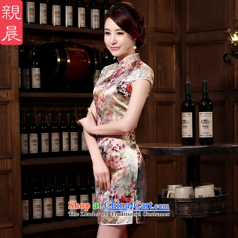 At 2015 new parent cheongsam dress summer retro herbs extract routine silk cheongsam dress improved stylish girl suit?L
