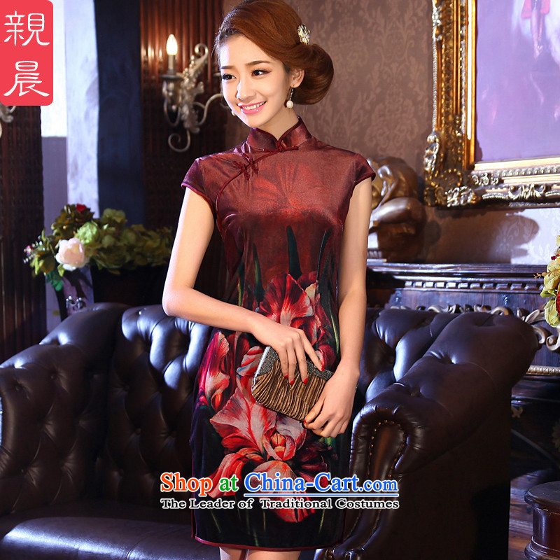 �� pro-am- 2015 Summer new short, wedding banquet in older mother marriage with velvet cheongsam dress dark floral?2XL