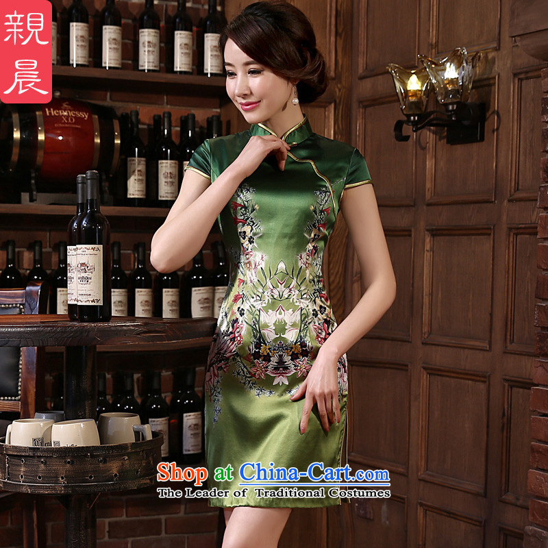 At 2015 new pro-silk cheongsam dress autumn summer retro herbs extract short of daily cheongsam dress improved stylish green燬