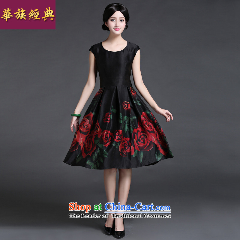 Chinese classic 2015 Summer ethnic Chinese silk herbs extract commuter dresses in Ms. long retro arts van Suit M
