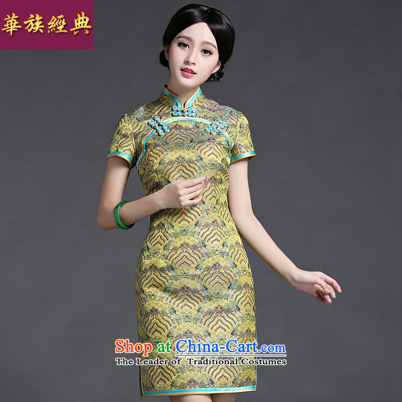 Chinese New Year 2015 classic ethnic Ms. summer short of Chinese dresses and stylish cheongsam dress suit retro improved?S