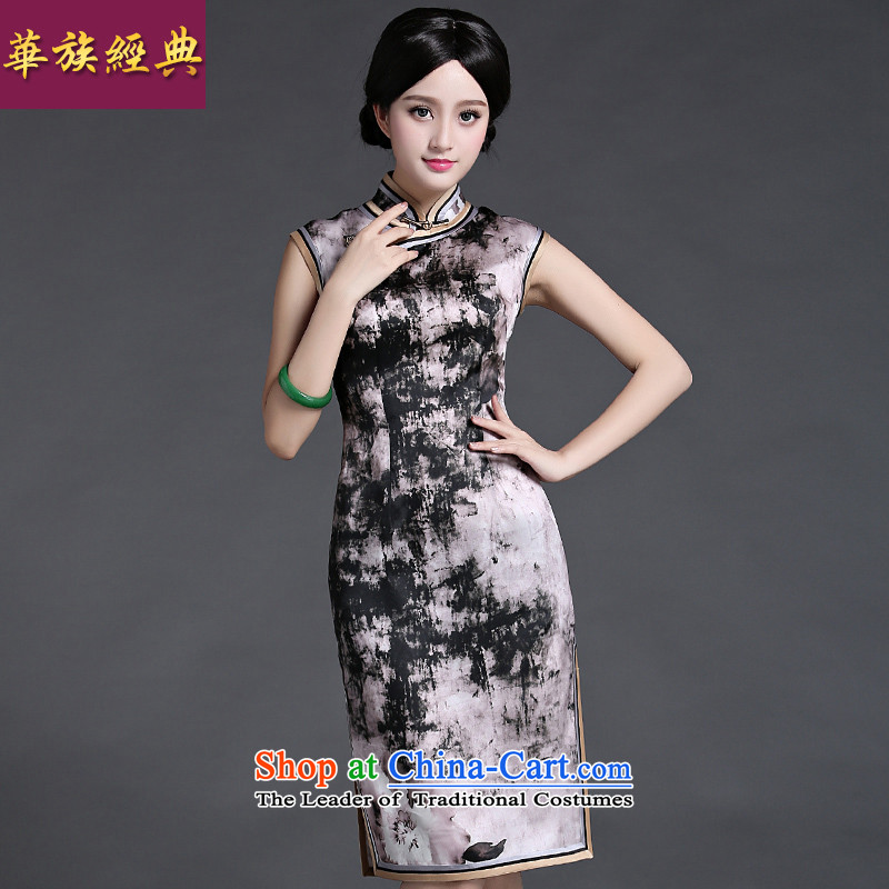 Chinese classic 2015 Summer ethnic Chinese silk the improvement of even the shoulder cheongsam dress retro Sau San燬 suit President