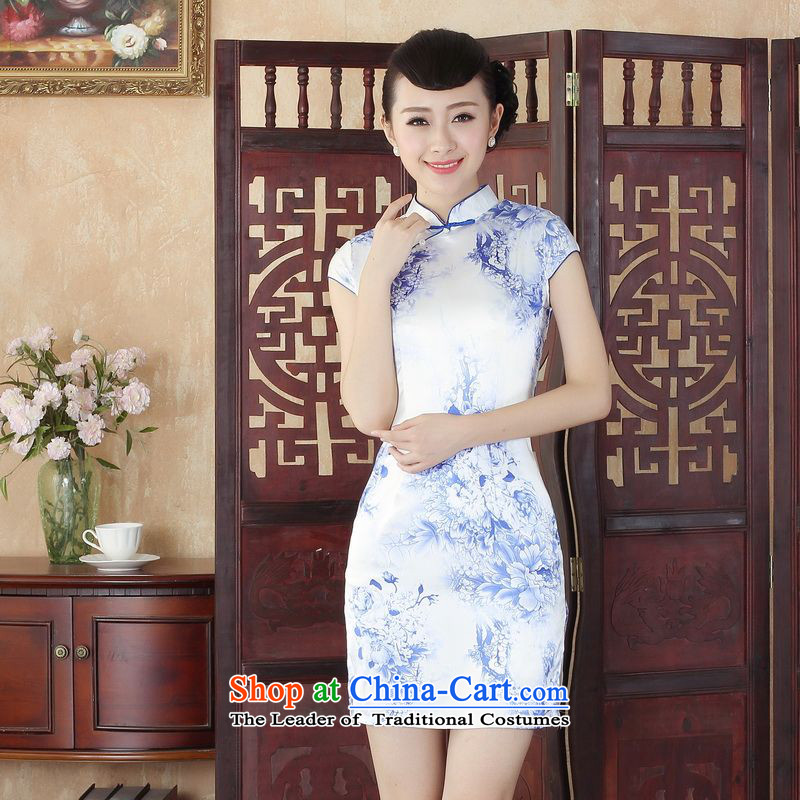 Ms. floor building is the new summer dresses ethnic retro Tang dynasty qipao gown stamp short qipao need picture color燬
