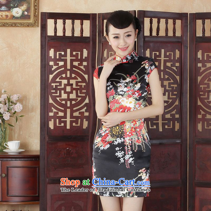 Ms. Floor Floor yet Tang dynasty qipao improved summer women elegant qipao Tang Gown cheongsam dress suit A black S