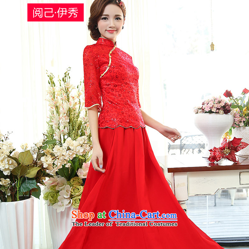 Read and el-soo spring 2015 new women's Simple Chinese wedding dresses Sau San bows long two kits dresses 7 Cuff 1505A RED燬