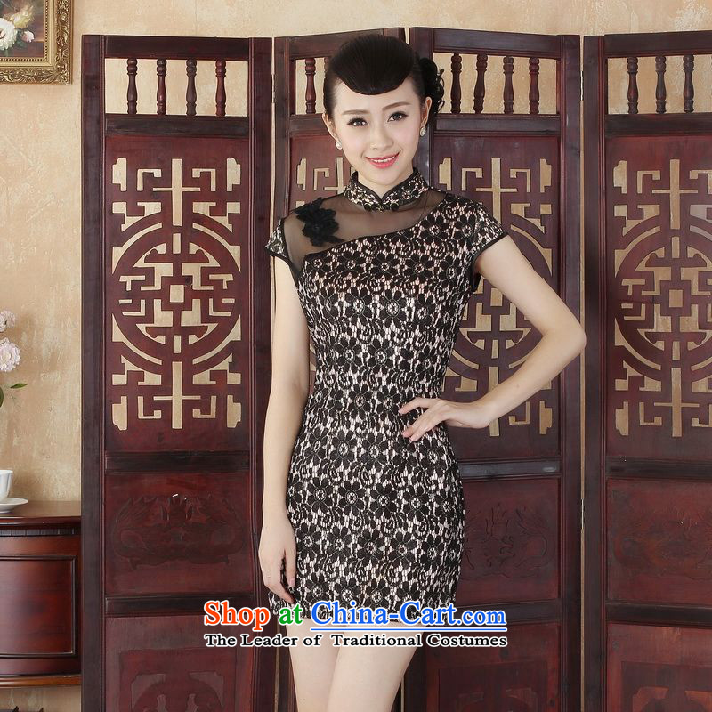 Ladies floor building is simple but elegant and stylish improved Sau San lace short cheongsam dress of Chinese cheongsam dress new picture color?M