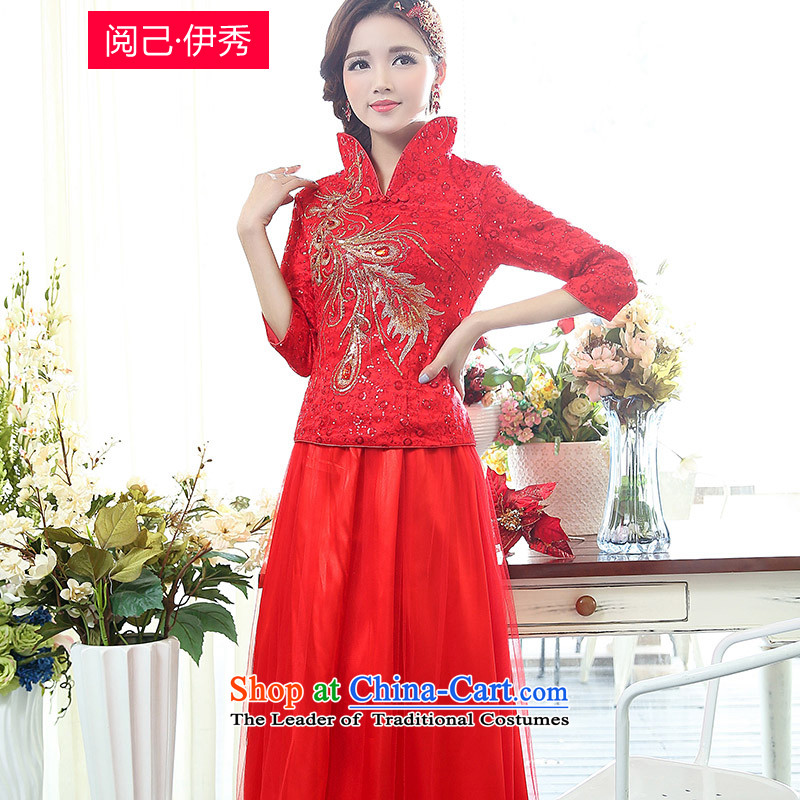 Read and el-soo spring 2015 new women cheongsam dress red Chinese Antique wedding dress long bride services 1507A bows National Red燬 e-mail package