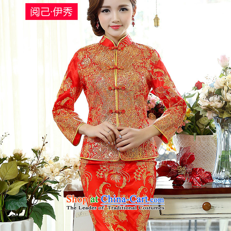 Read and el-soo 2015 spring outfits female minimalist Sau San Chinese wedding dress bride long qipao and Kennedy 1508A bows to Kim燣
