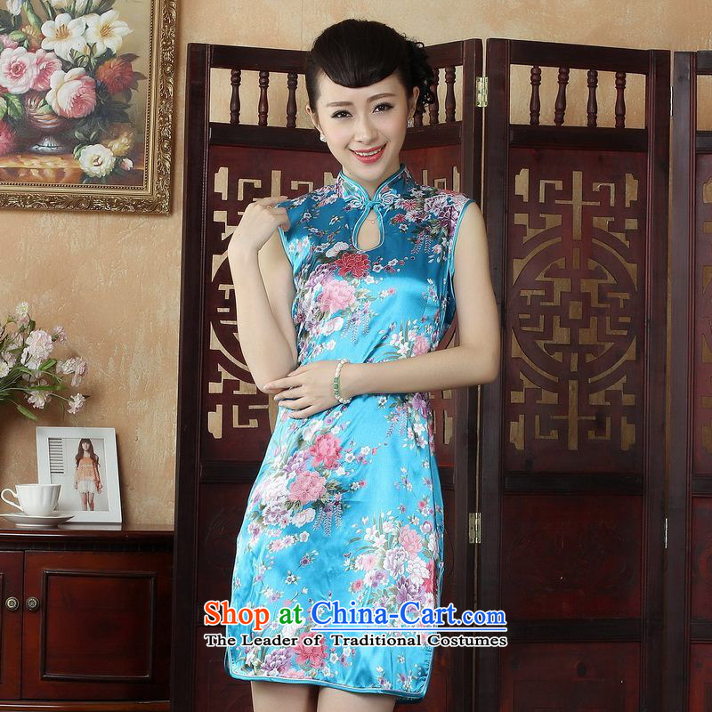 Yet elegant Ms. floor building style qipao and Tang dynasty improved summer qipao gown need collar stamp dress dresses燡5025 lake blue燲L