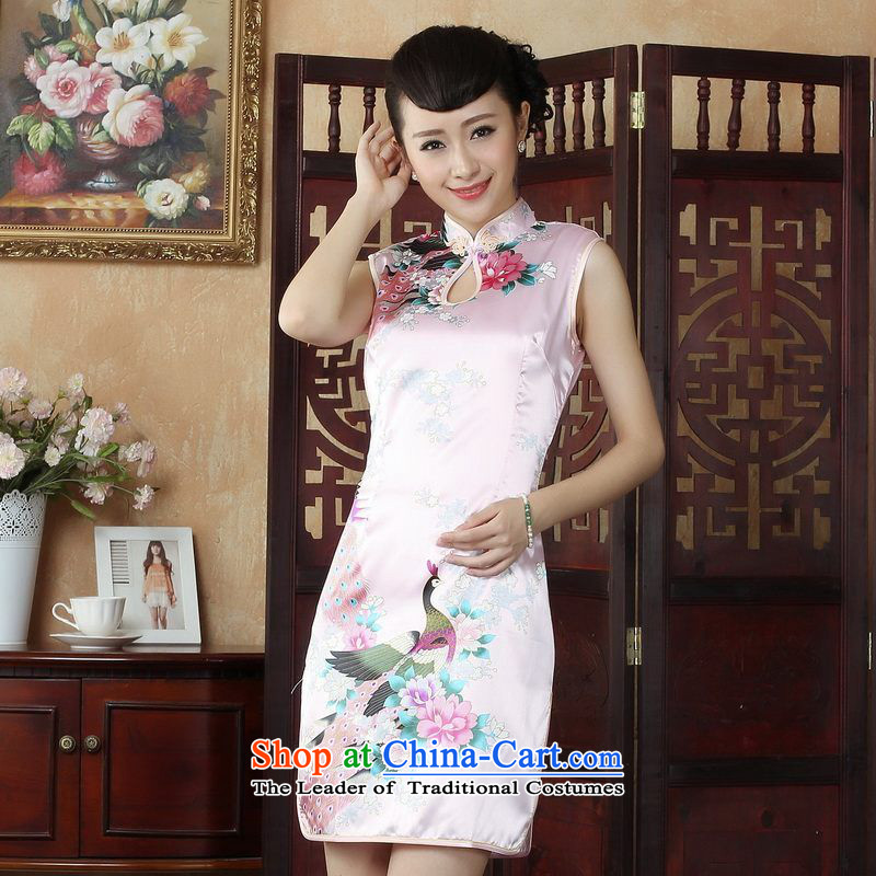 Ms. Floor Floor yet dresses qipao Tang dynasty improved summer qipao gown need collar short qipao燡5145 peacock pink燣