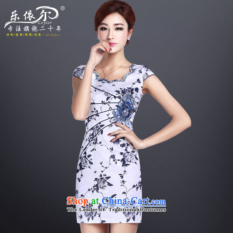 In accordance with the American, short-sleeved cheongsam dress short of qipao improved daily dress?LYE8801 retro Sau San?White?XL
