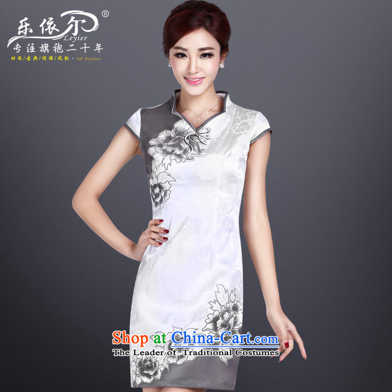 In accordance with the American's summer cheongsam dress female embroidery qipao short of improved female retro qipao?LYE8803?White?XXL