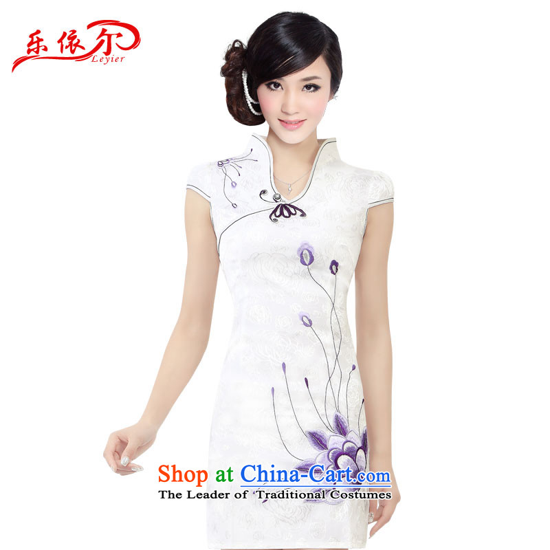 In accordance with the American's summer embroidered short sleeves Sau San female qipao cheongsam dress female?LYE1301 retro?White?XL