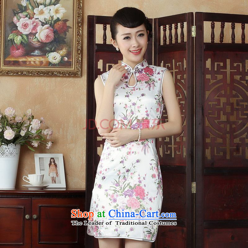 Ms. elegant qipao Nigeria Tang dynasty improved summer qipao gown need collar stamp dress dresses 5022 White M