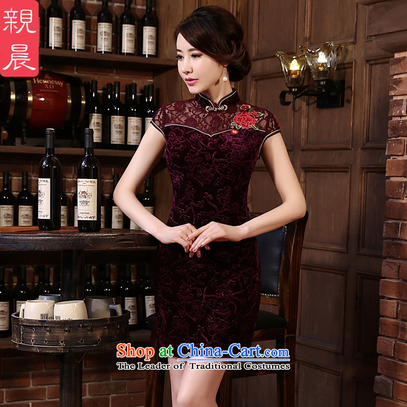 At 2015 new pro-chiu summer upscale Kim scouring pads in the skirt qipao retro older wedding-dress mother boxed sauce purple?S
