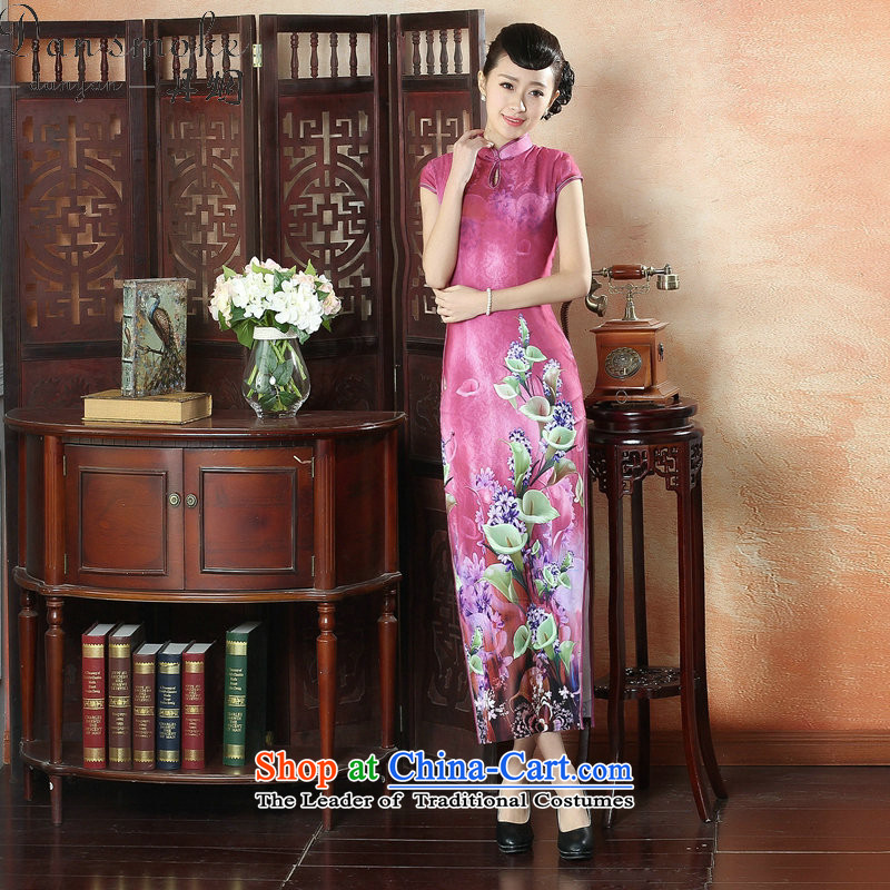 Dan smoke banquet long qipao summer new Chinese qipao improved Tang Women's clothes Mock-neck elegant qipao gown long short-sleeved figure color L