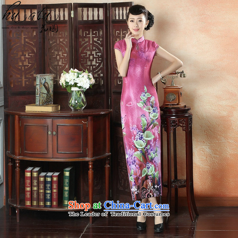 Floral banquet long qipao summer new Chinese qipao improved Tang Women's clothes Mock-neck elegant qipao gown long short-sleeved Figure Color XL