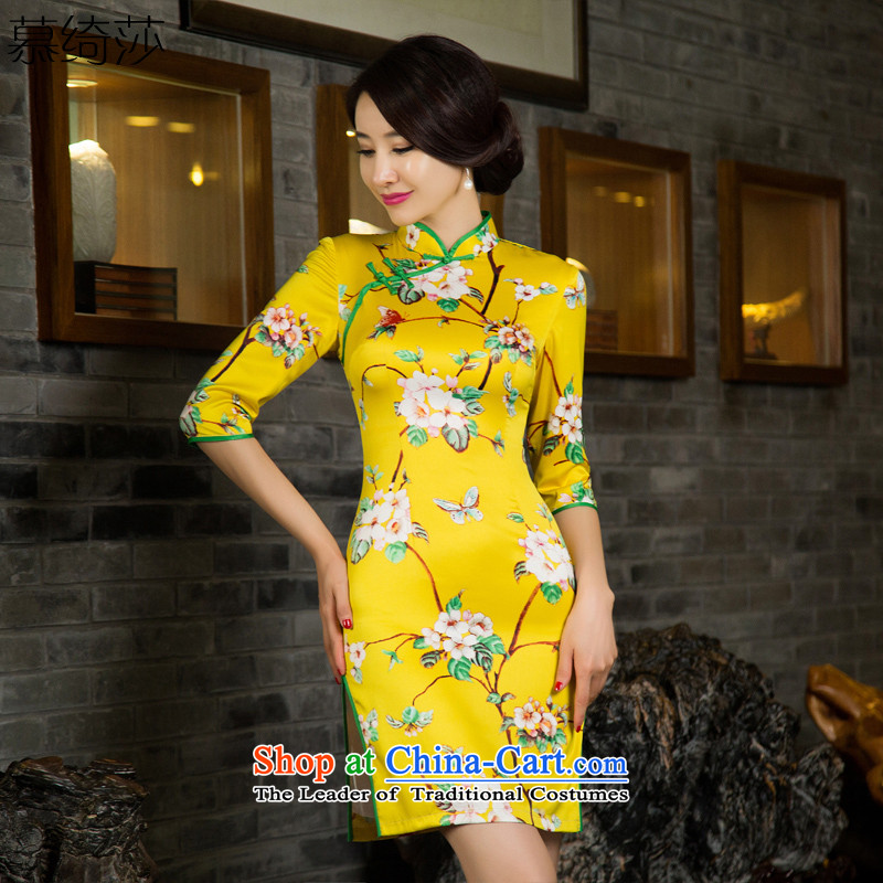 The cross-sha fashionable cheongsam dress smash hit new?2015 Autumn replacing retro look qipao improved cheongsam dress T11030 picture color?L