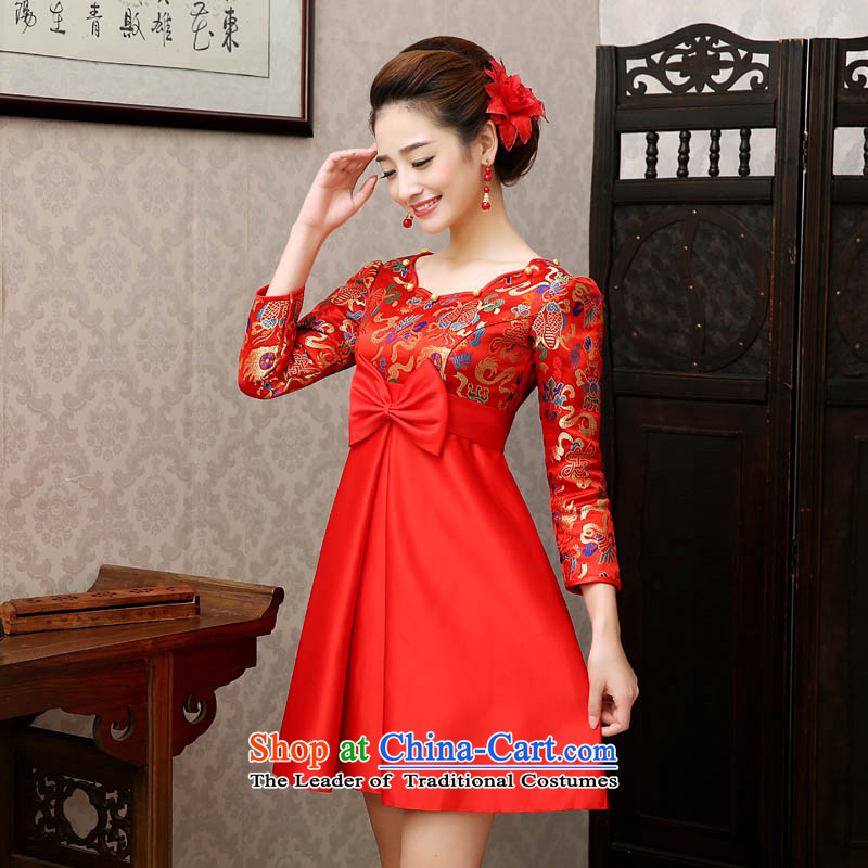 Qing Hua�2015 new dresses yarn Korean Top Loin of short of pregnant women married long-sleeved toasting champagne mother red evening improved sheikhs wind qipao Red Top Loin�M