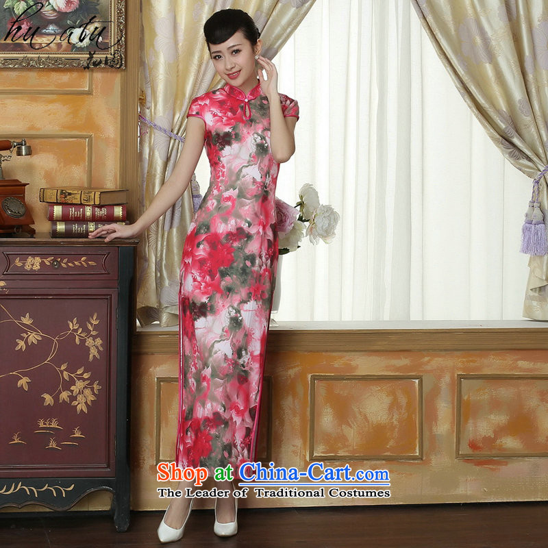 Figure for summer flowers new cheongsam Chinese clothing improved Mock-neck Tang Women's clothes cheongsam banquet Silk Cheongsam Long Short-sleeved Figure�2XL color