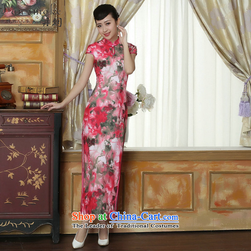 Dan smoke summer new cheongsam Chinese clothing improved Mock-neck Tang Women's clothes cheongsam banquet Silk Cheongsam Long Short-sleeved Figure�L color