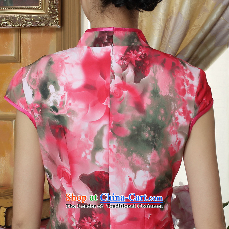 Dan smoke summer new cheongsam Chinese clothing improved Mock-neck Tang Women's clothes cheongsam banquet Silk Cheongsam Long Short-sleeved figure聽2XL, color Dan Smoke , , , shopping on the Internet