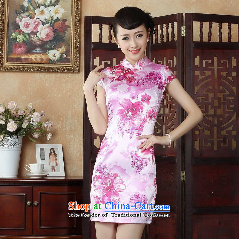 Ms. Floor Floor yet Tang dynasty cheongsam dress improved summer collar is pressed cheongsam dress photo color�L stamp