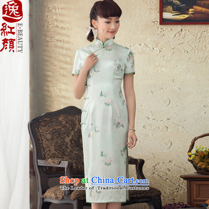 A Pinwheel Without Wind, The incense Yat long Silk Cheongsam stamp improved herbs extract Spring Summer skirt daily green qipao�XL
