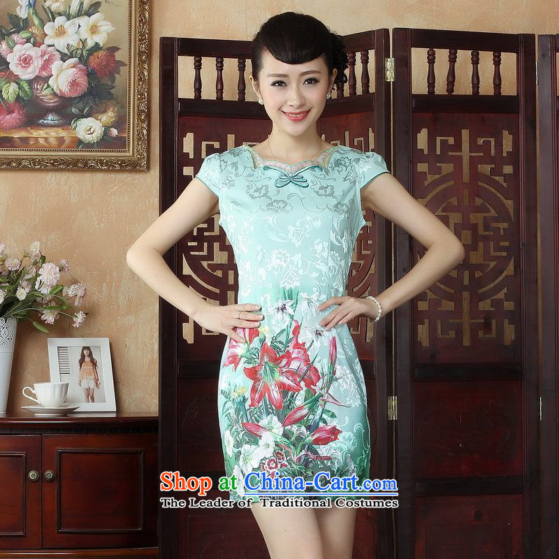 Ms. Floor Floor yet Tang dynasty cheongsam dress summer improved national wind retro stamp qipao gown picture color skirt聽L