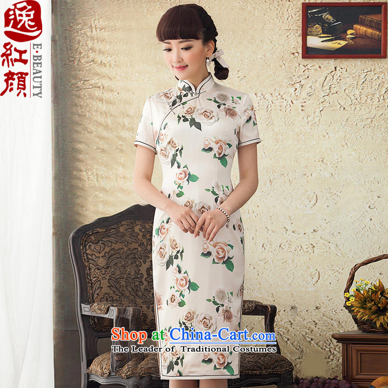 A Pinwheel Without Wind poem was really Yat Silk Cheongsam improved long summer 2015 spring outfits of the Republic of Korea cheongsam dress Daily White聽XL
