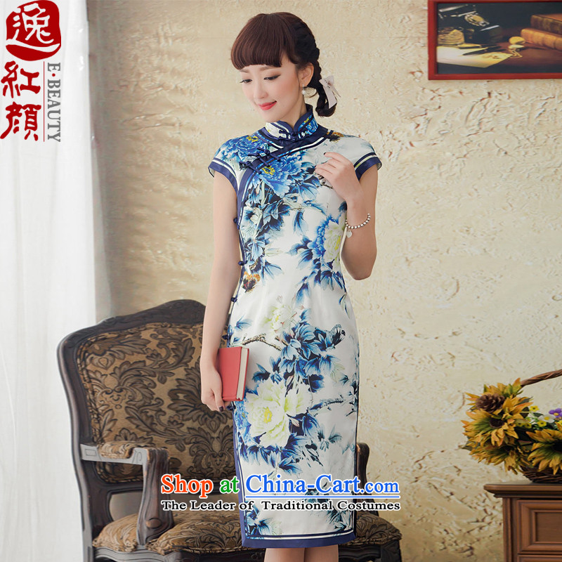 A Pinwheel Without Wind blue spirit-yat improved long porcelain Silk Cheongsam spring/summer 2015, replacing the new republic of korea cheongsam dress blue?XL
