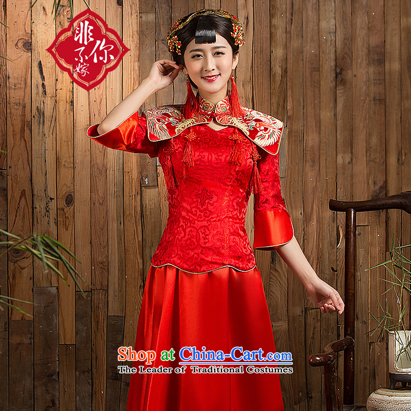 Non-you do not marry?autumn 2015 new red qipao seven married cuff wedding long bride bows services red?XL