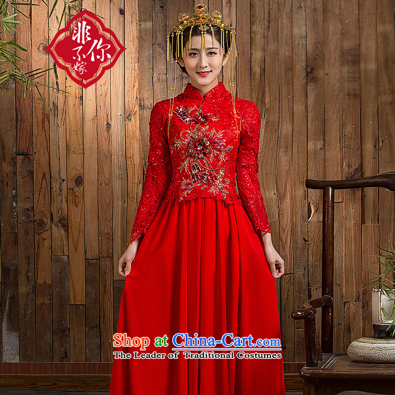 Non-you do not marry?autumn 2015 Red bride wedding dress Chinese long-sleeved wedding bride toasting champagne retro-red?s