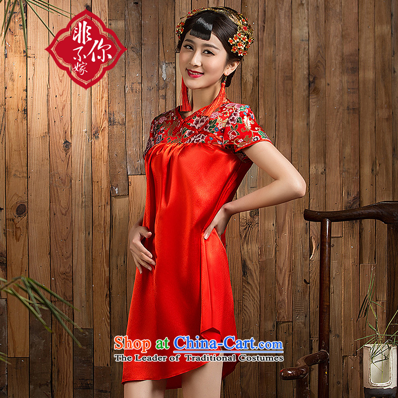 Non-you do not marry�15 new marriage qipao Chinese Improved large pregnant women qipao stylish wedding dress embroidery ethnic dresses red燲L