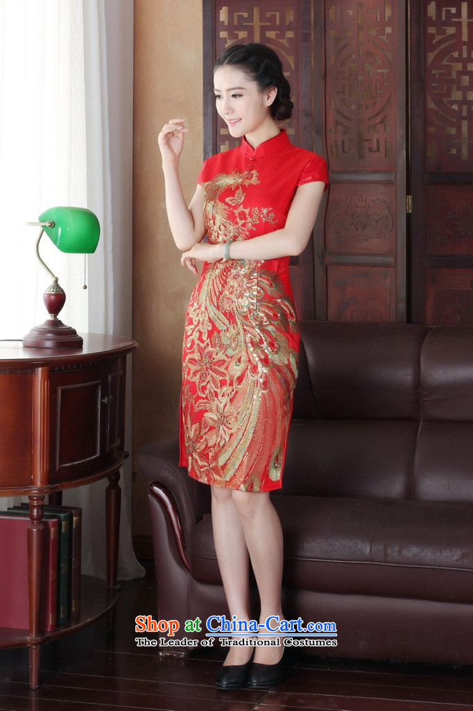 Dan smoke summer qipao Tang Dynasty Chinese Women's improved wedding services retro flower embroidery bows peacock short of Qipao Figure Color improved聽M picture, prices, brand platters! The elections are supplied in the national character of distribution, so action, buy now enjoy more preferential! As soon as possible.