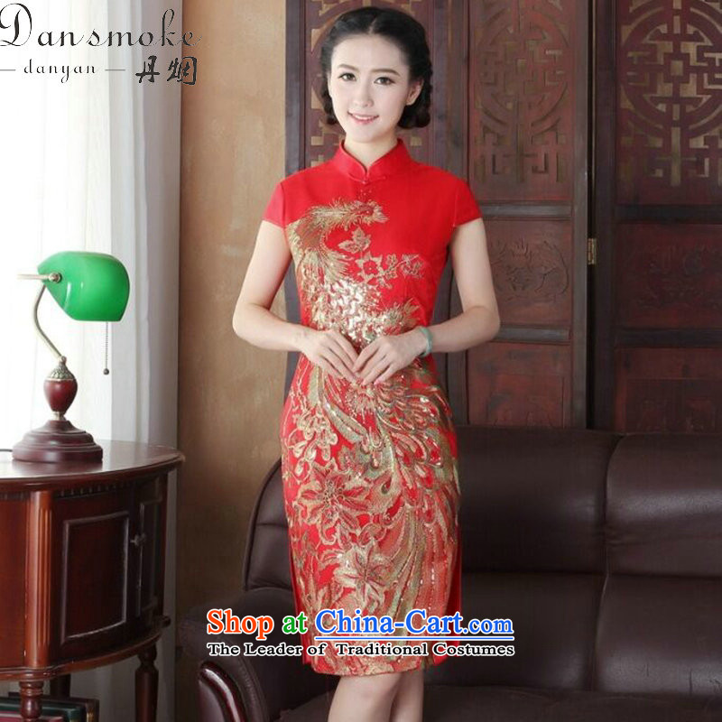 Dan smoke summer qipao Tang Dynasty Chinese Women's improved wedding services retro flower embroidery bows peacock short of Qipao Figure Color improved M