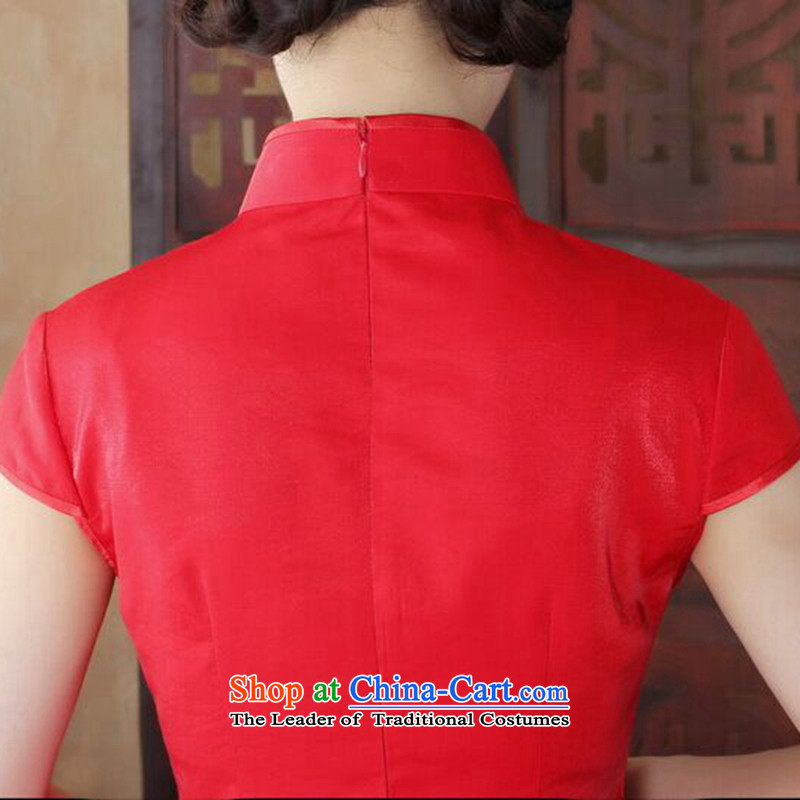 Dan smoke summer qipao Tang Dynasty Chinese Women's improved wedding services retro flower embroidery bows peacock short, improved color聽M, as shown in Figure qipao Dan Smoke , , , shopping on the Internet